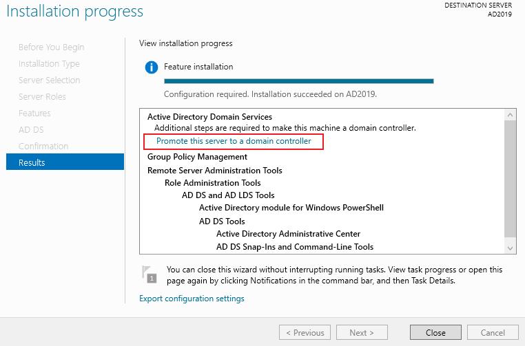 Install Active Directory Role Server 2019 - Webbanshee